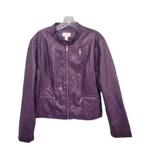 Ann Taylor Loft Purple Moto Jacket Size XL